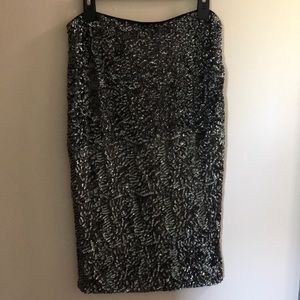 Black with silver/charcoal Sequins Skirt